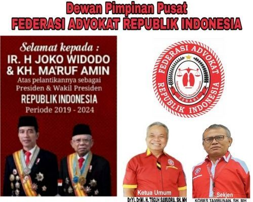 Selamat kepada Presiden Joko Widodo dan Wakil Presiden Ma'ruf Amin periode 2019-2024